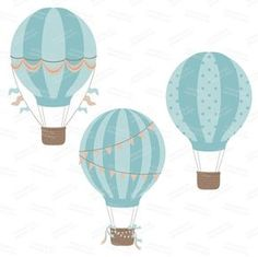 Premium Vintage Hot Air Balloons Clip Art & Digital par AmandaIlkov