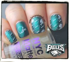 I'm not much of a sports person and not really a football person... but my family is. So, since I'm also a Philadelphian and the Eagles have a big game tonight I decided to do some football themed nails.