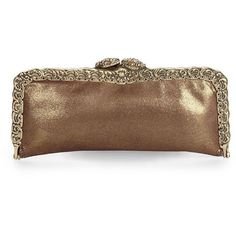 Clara Kasavina Pavé Snake Head Caviar Leather Frame Clutch/Bronze ($344) ❤ liked on Polyvore