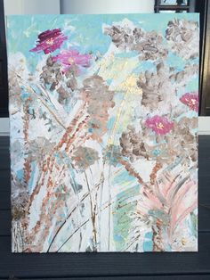Flowers in the Freezing Cold Art by Amy Miller. acrylic on canvas Sold.
