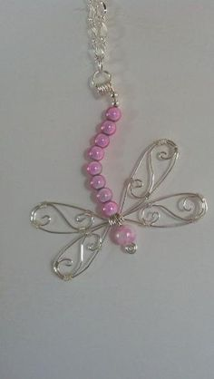 Silver wire and pink beaded dragonfly pendant necklace by Natjerm, Jewelry Beaded Dragonfly, Dragonfly Jewelry, Dragonfly Pendant, Wire Pendant, Wire Wrapped Pendant, Wire Wrapped Jewelry, Metal Jewelry, Pendant Jewelry, Beaded Jewelry