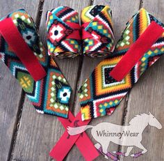 Bold Aztec print polo wraps by WhinneyWear  www.whinneywear.com   Horse tack