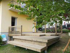 Terrasse aus Holz mit mehreren Ebenen. Gebaut von #diehandwerker.at Garden Bridge, Outdoor Structures, Outdoor Decor, Home Decor, House, Ideas, Decoration Home, Room Decor, Home Interior Design