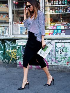 look of the day summer stripe shirt business outfit office look fashion blogger helloshopping