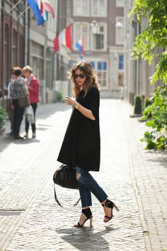 ASOS dress, AG Jeans loose fit jeans, Céline shoes, Marc by Marc Jacobs bag, Michael Kors watch and Karen Walker sunglasses