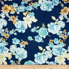 Stretch Rayon Jersey Knit Floral Orange/Blue from @fabricdotcom  This jersey knit fabric has an ultra soft hand, a fluid drape and about 40% stretch across the grain. This versatile fabric is perfect for creating stylish tops, tanks, lounge wear, gathered skirts and fuller dresses with a lining.