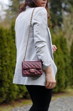 Cool combo: Chanel Mini Classic Flap and Smythe Long Shawl Blazer (www.covetandacquire.blogspot.ca)