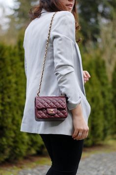 Cool combo: Chanel Mini Classic Flap and Smythe Long Shawl Blazer (www.covetandacquire.blogspot.ca)