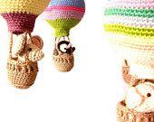 baby mobile, hot air balloon nursery,  crochet mobile, baby shower gift