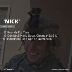 """""""Nick"""" WOD - 12 Rounds For Time: 10 Dumbbell Hang Squat Cleans lb); 6 Handstand Push-Ups on Dumbbells Pilates Reformer Exercises, Pop Pilates, Pilates Studio, Pilates For Beginners, Beginner Pilates, Beginner Workouts, Wod Workout, Workout Ideas, Training"""