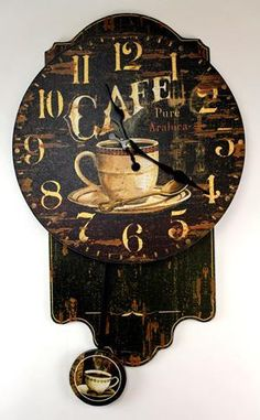 Coffee themed pendulum wall clock. Excellent for restaurant or coffee shop, kitchen.