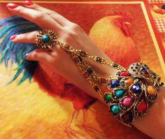 Bangle with finger ring vintage cuff bangle bracelets by IDIG on Etsy