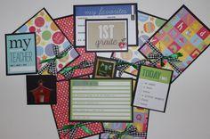 TPHH School 1st Grade boy or girl Premade Scrapbook page mat set