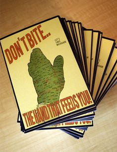 Don't Bite The Hand That Feeds You Postcard by RebeccaMich on Etsy, $2.00