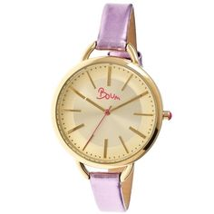 Boum Champagne Gold Dial Lavender Leather Ladies Watch (7.185 RUB) ❤ liked on Polyvore featuring jewelry, watches, champagne jewelry, analog wrist watch, leather watches, boum and analog watches