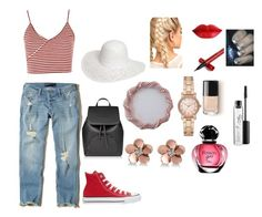 """""""Day on the Beach"""" by mandieluver on Polyvore featuring Topshop, Hollister Co., Converse, Dorothy Perkins, Allurez, Michael Kors and MAC Cosmetics"""