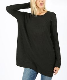 db06d17b42 Look at this  zulilyfind! Black Thermal Waffle-Knit Crewneck Sweater - Plus