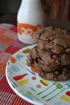 Double Dark Chocolate Coconut Pecan Cookies - Vegan and Refined Sugar Free