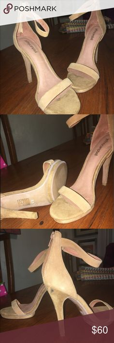 Brand new Jeffrey Campbell heels Small spot on back of right heel. Suede cleaner should clean. Camel color gorgeous shoe! Jeffrey Campbell Shoes Heels
