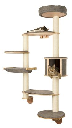 The Wall-Mounted Cat Tree Dolomit XL Tofana is a luxurious, beautifully designed, wall mounted cat tree that will command centre stage in any home.  With seven levels for your feline friends to relax, climb, and play. You can rest assured that they will have everything that they need to feel fully content and have the most puuuuuurect experience!  The Wall-Mounted Cat Tree Dolomit XL Tofana is held together with several high-quality, durable, sisal poles. These are perfect for your feline…