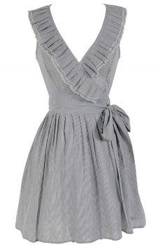 Striped Ruffle Collar Wrap Dress in Grey    www.lilyboutique.com