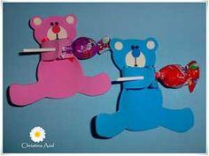 Lollipop craft idea for kids Kids Crafts, Bear Crafts, Diy And Crafts, Preschool First Day, Preschool Art, Candy Crafts, Paper Crafts, Lollipop Craft, Teddy Bear Party