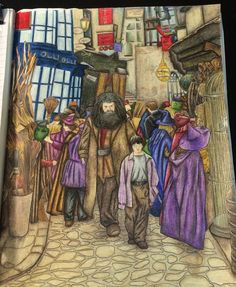 """Welcome to diagon alley"" Hope you guys like it!!! #adultcoloring #harrypotter #harrypottercolouringbook #harrypottermagicalplacesandcharacters #harrypottercoloringbook #diagonalley"