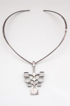 David-Andersen Norway vintage sterling silver neck ring and pendant