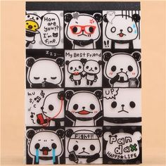 black and white panda bear friends block Note Pad by Q-Lia 1