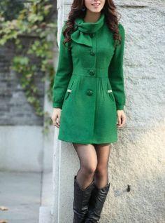 Winter single-breasted wool coat dresses women&39s coat green | Fall