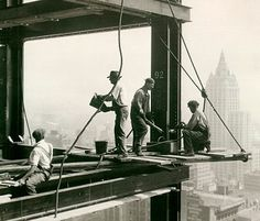 Workman on Framework of Empire State Building, Lewis Hine - 1930 Photograph