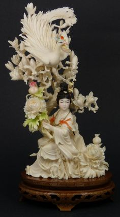 INTRICATE CHINESE IVORY QUAN YIN GROUP FIGURE