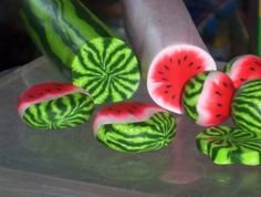 papernclay: Awesome cute watermelon polymer clay canes and beads!