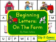 Farm Fun - Beginning Letters Clip It Games product from Sweet-Tea-Classroom on TeachersNotebook.com