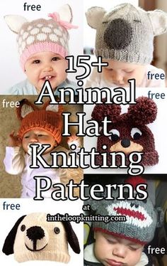Knitting patterns for Baby Animal Hats. Most patterns are free