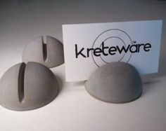 concrete place marker menu holder reserve table card display - Kreteware Concrete