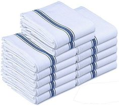Kitchen-Restaurant-Hotel Dish-Cloth Tea Towels - 12 Pack White with Blue Side Stripe 100% Cotton with Herringbone Weave Professional Quality Low Lint 24 oz Highly Absorbent (15 inch x 25 inch) by Utopia Towel