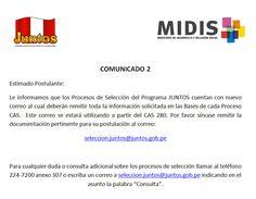 Portal Web JUNTOS - Convocatoria Proceso CAS