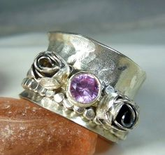 Tourmaline and roses Spinner Ring sterling silver and by Marajoyce, $128.00