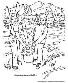 Arbor Day Coloring Pages - Camping forest safety