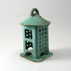 Two Piece Tea Light Mini Lantern-Candle-Luminary-Candle Holder-Teal-Blue Green-Porcelain Lantern-Stoneware Lantern-Ready to Ship