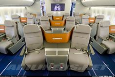 Lufthansa's new Business Class in the nose section of the 747. (In a reversal of what most airlines do, Lufthansa has put First Class entirely on the 747's upper deck.)