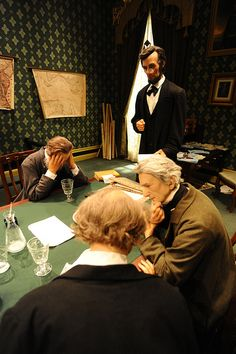 """Lincoln's Office in the White House"" brings you into an exacting reproduction of Lincoln's White House office. As you enter, Lincoln has just unveiled to his cabinet his plans to issue an Emancipation Proclamation."