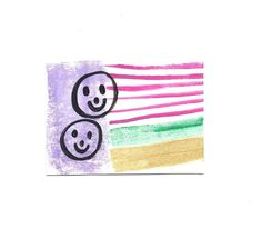 ACEO Original Acrylic Watercolor Gouache Painting of 2 Happy Faces Signed US | eBay