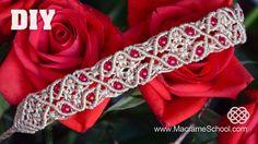 How to make a macrame bracelet with floral motif and beads. Please watch more macramé flower bracelets below ↓ http://www.youtube.com/watch?v=degaWF60ofk htt...