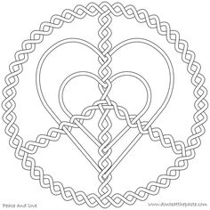 peace and love coloring page | CORAZONES HEARTS