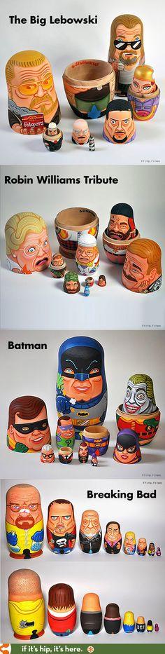 The Big Lebowski, Robin Williams, Batman and Breaking Bad hand-painted nesting dolls. #nestingdoll #russiandoll