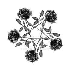 Rose pentagram - greyscale by rockgem.deviantart.com on @DeviantArt