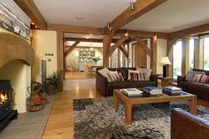 The current open plan cozy Lounge - 2015 The Woodhouse, Oak Framed Buildings, Garden Design, House Design, Step Inside, Open Plan, Lounge, Patio, Outdoor Decor