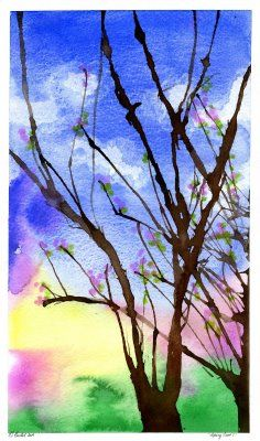 Blowing Trees:  Paint the background first and let dry.  Use a straw to blow brown paint around the paper to create the trunk and branches.  Then use a Qtip to dot on random flower and leaf buds.  Click link for more detailed instructions :)
